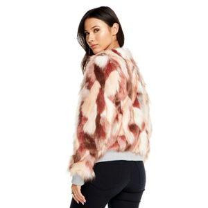Chaser Pink Calico Faux Fur Bomber Jacket L